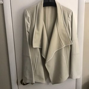 Vince XL cream felt and leather drape jacket.